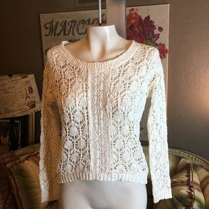 Anthropologie Flying Tomato Crochet Lace Sweater S